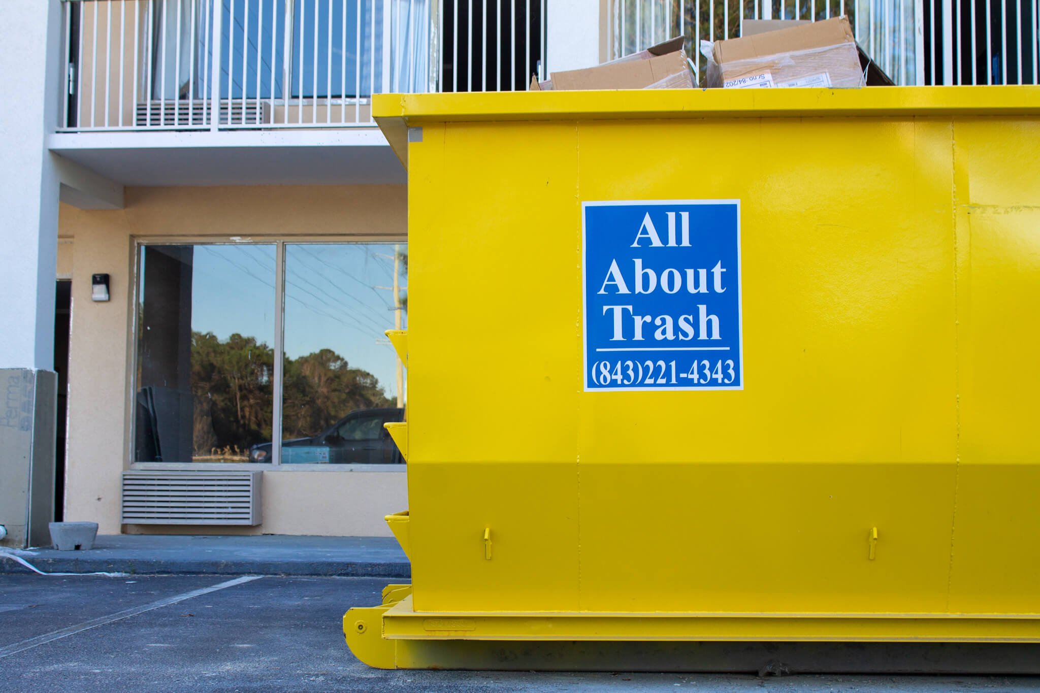 all about trash yellow 40-yard dumpster